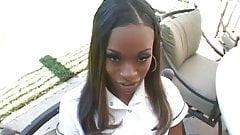 Ebony teen Divine caught smoking gets creampie