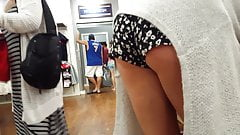Candid voyeur tall thick hot blonde bends over shorts