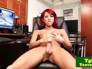 Preview 3 of Heeled redhead ladyboy jerking her hard cock