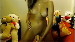 Overly tan girl bedroom masturbation