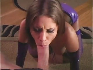 Brunette fucks in a shiny latex corset and fishnets