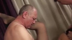 Three old men fuck young babe