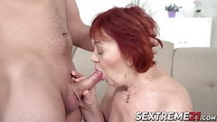 Chubby grandma rimmed and banged by young stud