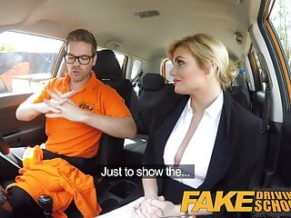 Preview 2 of Fake Driving School Posh horny busty examiner swallows