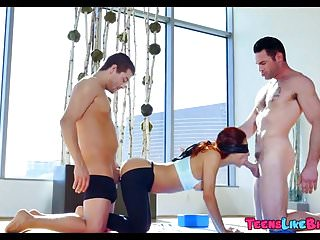 Yoga Teen gets Double Teamed with Dick