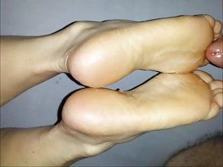 Cum on soles after footjob