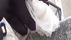 upskirt opaque stocking