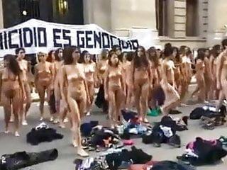 Nudewomen protest in Argentina -colour version