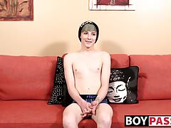 Gorgeous twink Chris Summers jerking off his big fat cock