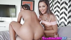 Teens Jaye Summers and Vienna Black double team a lucky cock