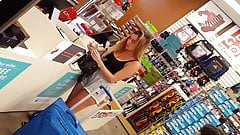 Candid voyeur blonde babe waiting in line shopping