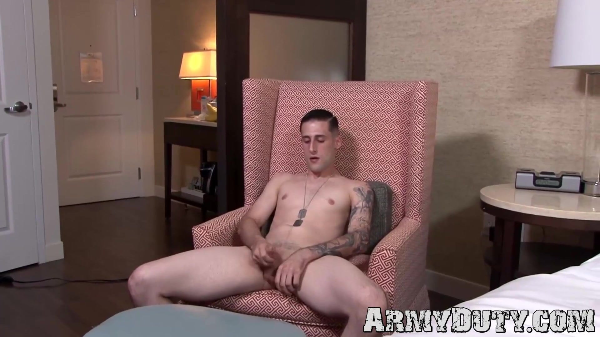 Younger soldier James Devlin makes use of each fingers to jack off