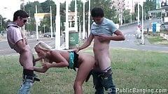 Public TEEN orgy street GANG BANG Part 3