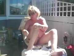 wife shaving outdoors