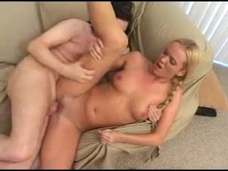 Young sexy blonde with pigtails fucked on her couch