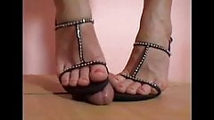 Black Sandal Ball Crush shoejob
