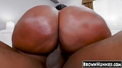 Phat ass black chick drilled hard by a monster ebony dick