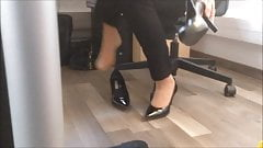 trying high heels with nylon socks