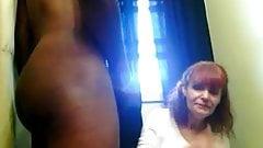 White mature sucking BBC on webcam