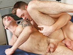Athletic gay men have fun after workout