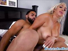 Hugetits ebony babe sucks cock in pov