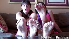 You have to suck our toes for being a naughty boy