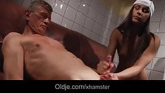 Oldman fucks a young slutty maild in a hotel restroom