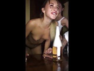 Topless Friend Lost A Bet Sexy Tits Deepthroating Bottle
