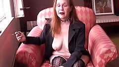 Super sexy old smoker in suspenders loves to talk dirty