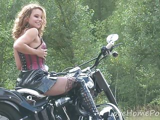 Naughty brunette loves her boyfriend's new ride