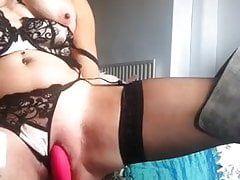 Milf in boots squirts while playing with vibrator