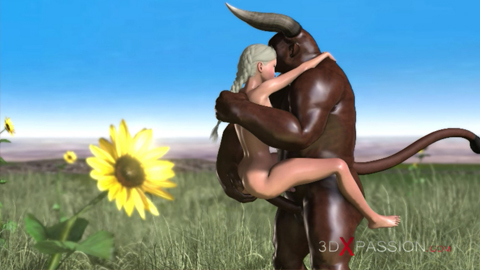 Trans candy schoolgirl fucked arduous by merciless minotaur out of doors