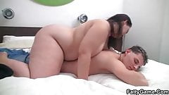 Fat babe seduces young lad