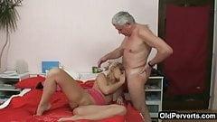 Old plumber fucks Nubile blonde