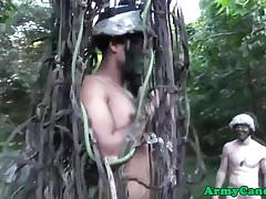 Military hunk humiliated in outdoors fuck