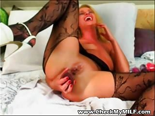Check my MILF stuffing her ass with huge dildo
