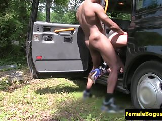 Preview 4 of Busty british cabbie doggystyle by black guy