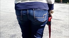 Sexy candid Italian voyeur in tight jeans part 3