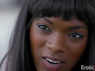 Ebony cutie cum sprayed
