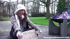 Homeless teen fucks granddad in the park for little cash