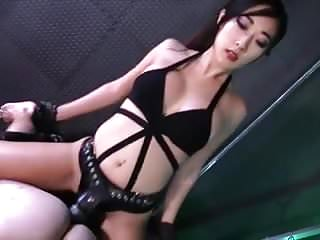 Korean Asian Mistress Strapon Fucks Slave Dominates