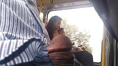 Cock out  in bus around girls