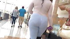 VPL Thick Ebony Teen in Grey Pants