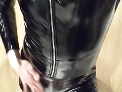Playing in my black pvc body, nylons and plastic wrap I