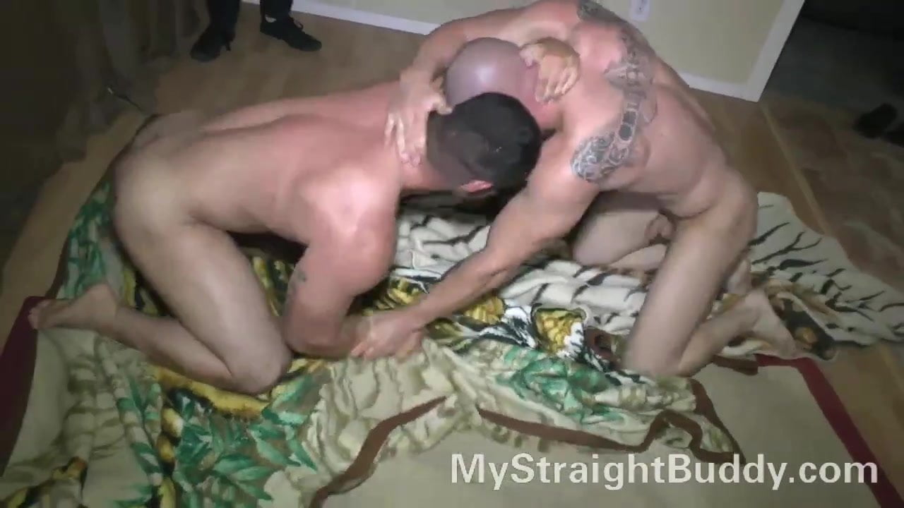 Straight Marine Buddies Wrestling Bare