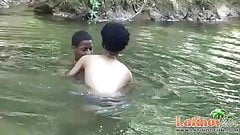 Heated Latinos having oral and anal sex outdoors