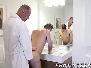 Twink stepson raw fucked after shaving his cute face