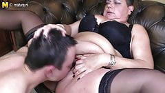 Big mature MOM fucks her young toy boy
