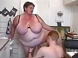 Chunky Grandma seduce two Young Guys