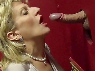 Big tit British mature Lady Sonia visits a gloryhole